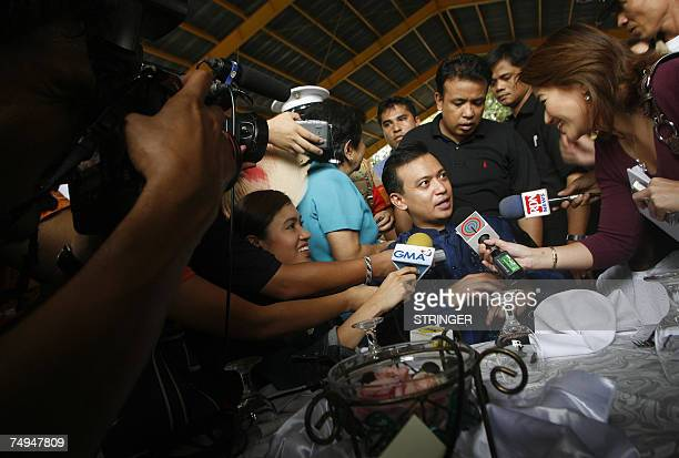 Opposition candidate and now a newlyelected Senator Lt Senior Grade Antonio Trillanes talks to the media after taking his oath of office in his...