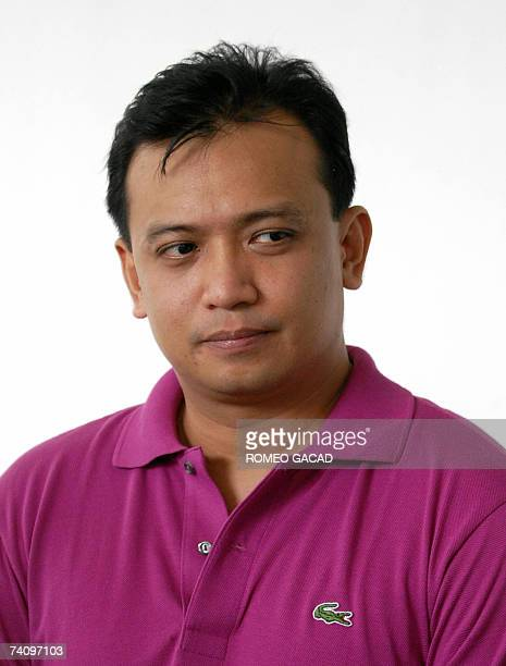 Opposition senatorial candidate jailed former Philippine Navy officer Antonio Trillanes listens to Mayor Jose Victor Ejercito campaign manager of the...