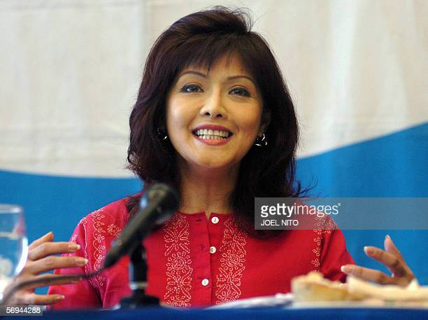 Philippines House of Representatives legislator Maria Imelda Imee Marcos gestures during a press coference at the Foreign Correspondents' Club of the...