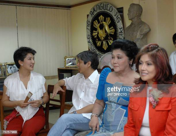 The first family of the late dictator President Ferdinand Marcos Irene Ferdinand Bong Bong Jr the former first lady Imelda and Imee during the...