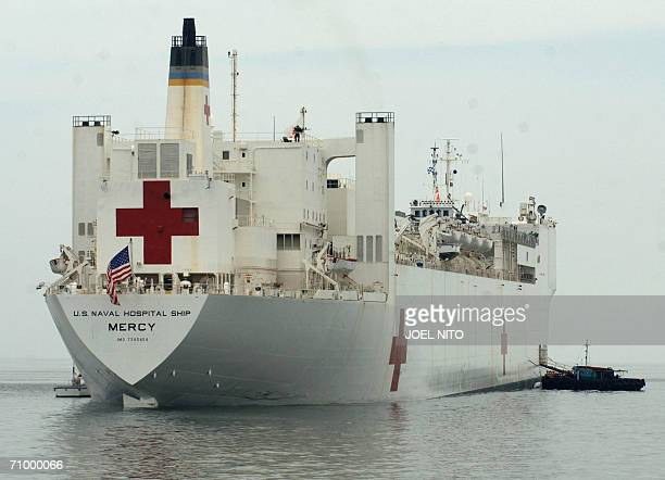 The USNS Mercy hospital ship lays anchored in Manila Bay 21 May 2006 The US hospital ship will be heading to the southern Philippines island of...