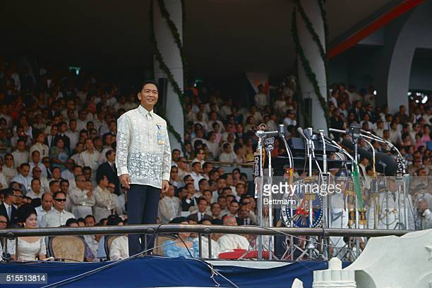 Manila PhilippinesFilipino President Ferdinand E Marcos speaks to crowd which inaugurated him as the nation's 6th president December 30th