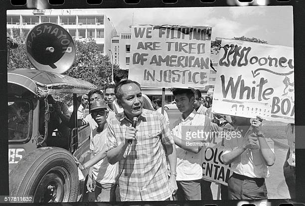 Protest In Manila Luis Taruc leader of the Hukbalahap leads students here in Manilla protesting in front of the U S Embassy after a U S sailor at...