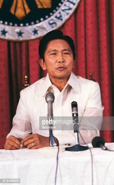 Manila The Philippines President Ferdinand E Marcos during press conference April 12 1978