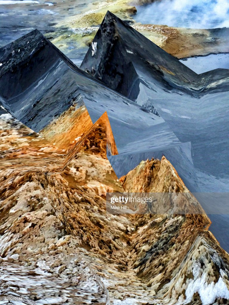 Manipulated Image of Geothermal area : Stock Photo