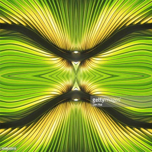Manipulated image of palm leaf in symmetrical vibrant green and yellow colors and clean lines