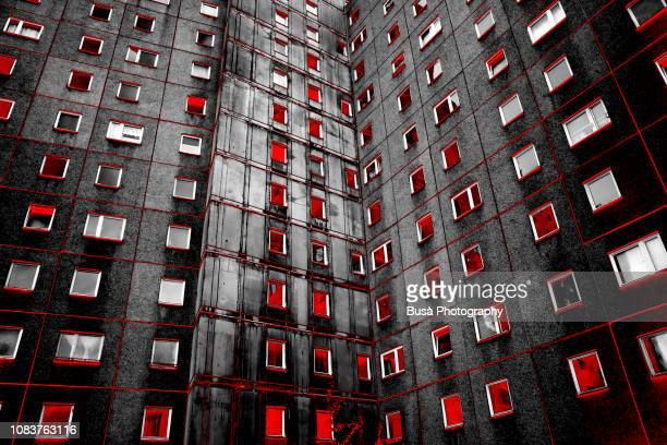 manipulated image of prefabricated public housing project in east berlin, germany - central berlin stock pictures, royalty-free photos & images