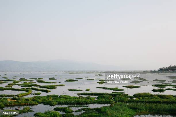 Manipur, India: View over Loktak Lake and floating islands