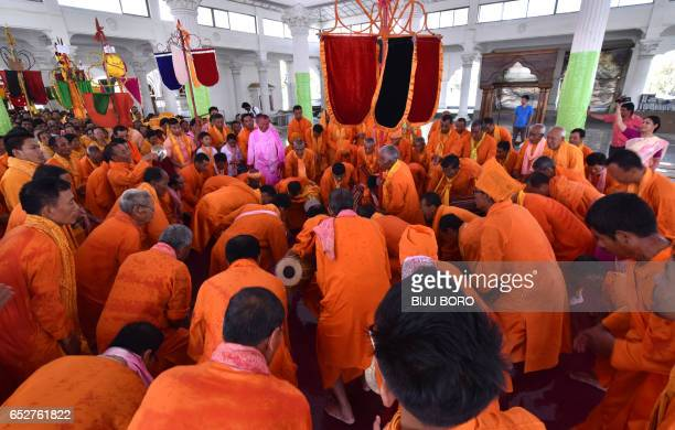 Manipuri people take part in the Yaosang festival in Govindagee Temple in Imphal Manipur state on March 13 2017 Yaosang is a festival celebrated in...