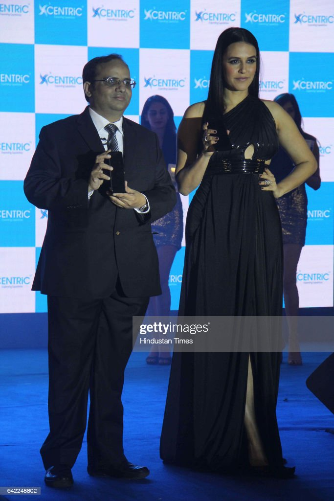 Manish Aggarwal, CEO, Centric Mobile, and Bollywood actor Neha Dhupia during the launch of Centric Smartphones new range, at ITC Maratha, Andheri, on February 15, 2017 in Mumbai, India.