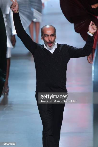 Manish Arora walks the runway during the Paco Rabanne Ready to Wear Spring / Summer 2012 show during Paris Fashion Week on October 4, 2011 in Paris,...