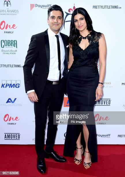 Manish Bhasin and his wife Anushka Bhasin attending the 8th Annual Asian Awards held at the Hilton Hotel Park Lane London