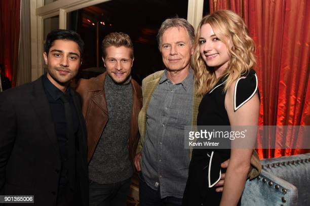 Manish Dayal Matt Czuchry Bruce Greenwood and Emily Vancamp attend the FOX AllStar Party during the 2018 Winter TCA Tour at The Langham Huntington...