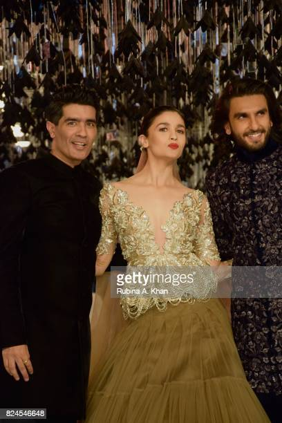 Manish Malhotra Alia Bhatt and Ranveer Singh at the FDCI's India Couture Week 2017 at the Taj Palace hotel on July 30 2017 in New Delhi India