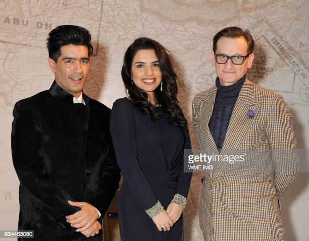 Manish Malhotra Amina Taher and Hamish Bowles attend Etihad Airways Toasts New York Fashion Week 2017 at Skylight Clarkson Sq on February 9 2017 in...