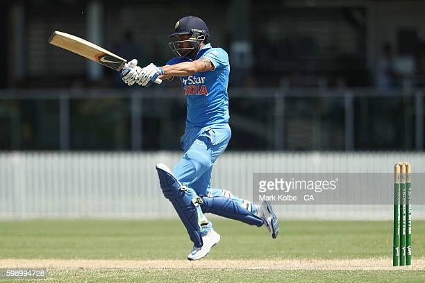 Manish Pandey of India A bats during the Cricket Australia Winter Series Final match between India A and Australia A at Harrup Park on September 4...
