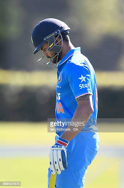 Manish Pandey of India A walks from the field after being dismissed during the One Day match between Australia A and India A at Tony Ireland Stadium...