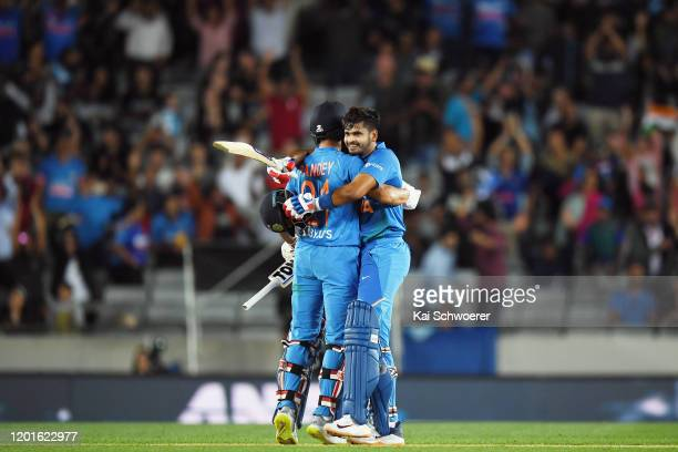 Manish Pandey of India and Shreyas Iyer of India celebrate their win in game one of the Twenty20 series between New Zealand and India at Eden Park on...