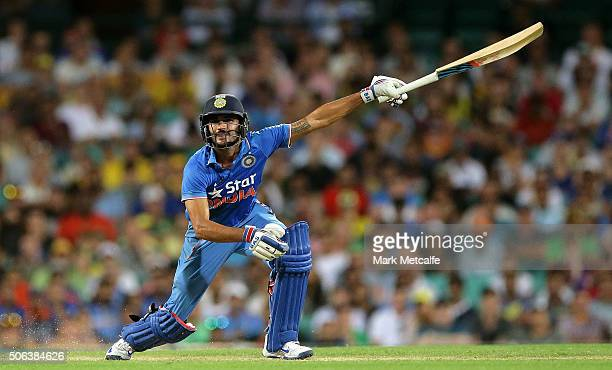 Manish Pandey of India bats during game five of the Commonwealth Bank One Day Series match between Australia and India at Sydney Cricket Ground on...