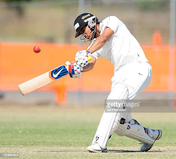 Manish Pandey of India bats during the Emerging Players Tournament match between the AIS and India at Endeavour Park on August 12 2011 in Townsville...