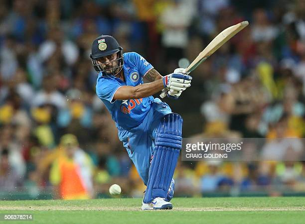 Manish Pandey of India bats during the fourth oneday international cricket match between India and Australia in Sydney on January 23 2016 GOLDING