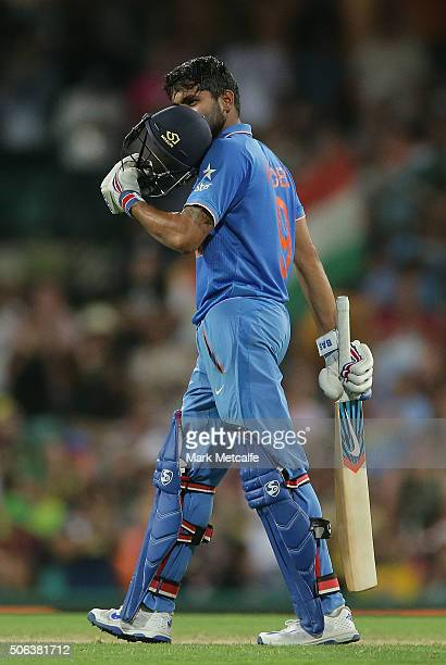 Manish Pandey of India celebrates after scoring a century during game five of the Commonwealth Bank One Day Series match between Australia and India...