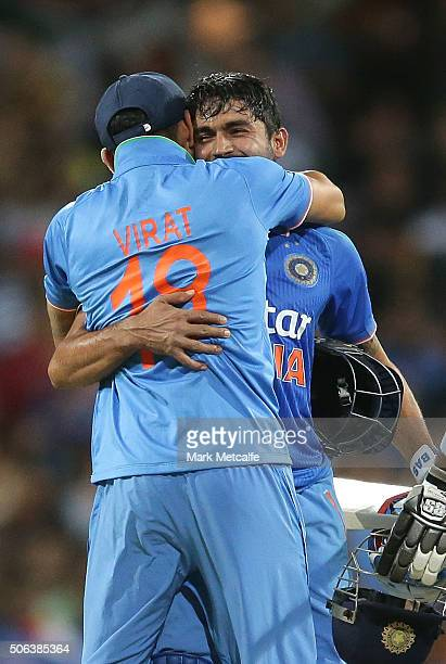 Manish Pandey of India celebrates with Virat Kohli after victory in game five of the Commonwealth Bank One Day Series match between Australia and...