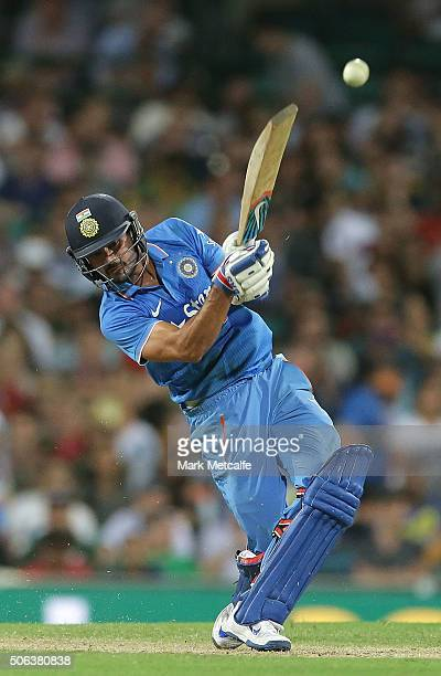 Manish Pandey of India hits a six during game five of the Commonwealth Bank One Day Series match between Australia and India at Sydney Cricket Ground...