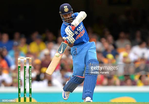 Manish Pandey of India plays a shot during game two of the Victoria Bitter One Day International Series between Australia and India at The Gabba on...