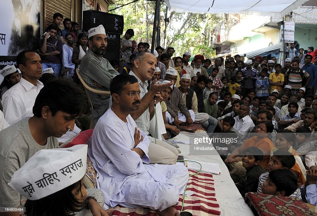 Manish Sisodia addressing the crowd assembled at Sundar Nagari on March 29, 2013 in New Delhi, India. Arvind Kejriwal, said the prices of power and water in Delhi had gone up many times because of corruption of Sheila Dikshit Government. Responding to the allegation made by Delhi Chief Minister that people can't use 24 hours power supply and pay only for 8 hours, Arvind Kejriwal challenged Shiela Dikshit for an open debate anywhere anytime in front of the people of Delhi.
