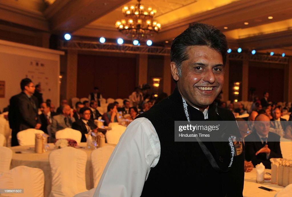 Manish Tiwari poses during the Hindustan Times Leadership Summit at Taj Palace in New Delhi on Friday, November 16 2012.