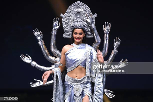 Manita Devkota Miss Nepal 2018 walks on stage during the 2018 Miss Universe national costume presentation in Chonburi province on December 10 2018