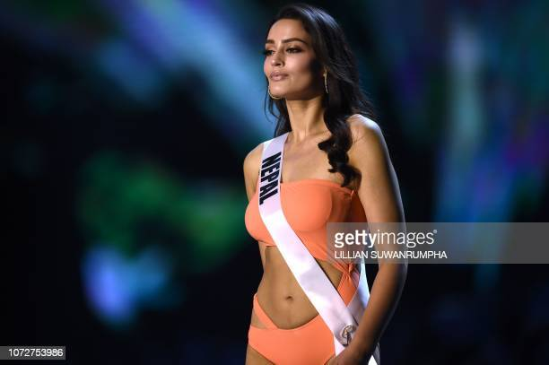 Manita Devkota of Nepal competes in the swimsuit competition during the 2018 Miss Universe pageant in Bangkok on December 13 2018