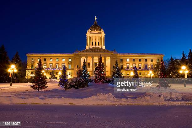 manitoba legislator building christmas lights - winnipeg stock pictures, royalty-free photos & images