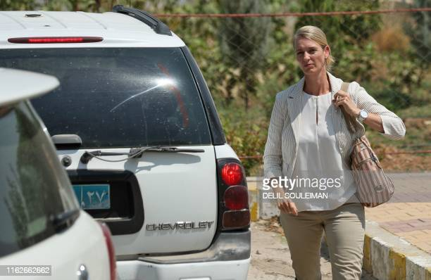 Manja Kliese, head of the German delegation, arrives for a meeting with Kurdish officials on the Syrian side of the Semalka border crossing on August...