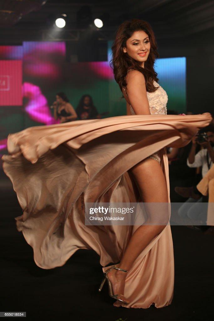 Manjari Fadnis walks the runway at the Karishma Jumani show during India Intimate Fashion Week 2017 at Hotel Leela on March 18, 2017 in Mumbai, India.