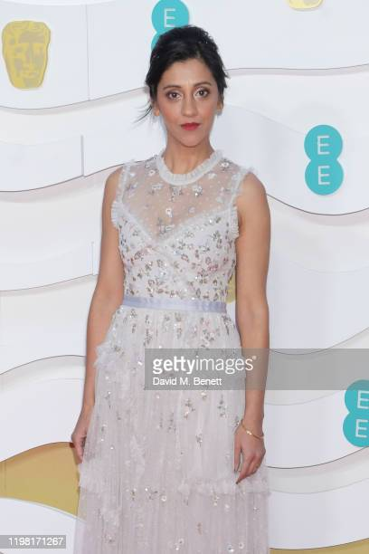 Manjinder Virk arrives at the EE British Academy Film Awards 2020 at Royal Albert Hall on February 2 2020 in London England