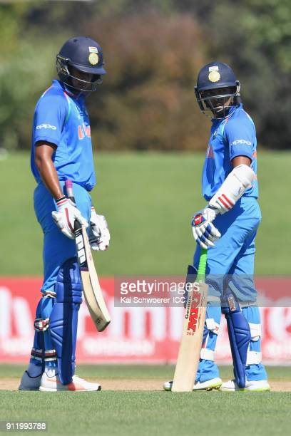 Manjot Kalra and Prithvi Shaw of India look on during the ICC U19 Cricket World Cup Semi Final match between Pakistan and India at Hagley Oval on...