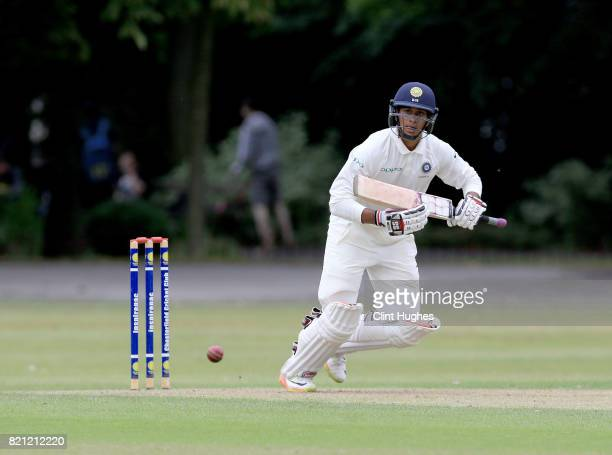 Manjot Kalra of India bats during the England U19 v India U19 match at Queen's Park Cricket Club on July 23 2017 in Chesterfield England