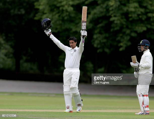 Manjot Kalra of India celebrates after scoring a century during the England U19 v India U19 match at Queen's Park Cricket Club on July 23 2017 in...