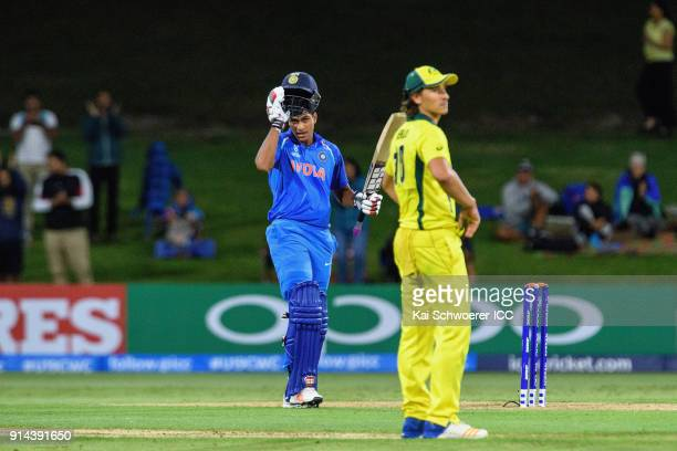 Manjot Kalra of India celebrates his century during the ICC U19 Cricket World Cup Final match between Australia and India at Bay Oval on February 3...