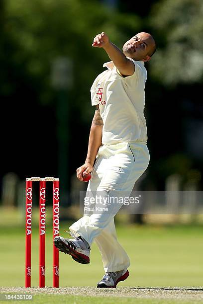 Manjot Singh of New South Wales bowls during day one of the Futures League match between Western Australia and New South Wales at Richardson Park on...