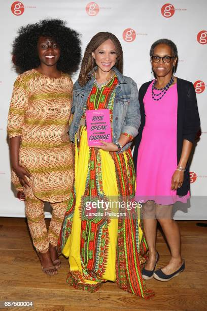 Mankaprr Conteh Melissa HarrisPerry and Rolisa Tutwyler holding Rise Speak Change Girls Right Now 2017 Anthology attend the Fifth Annual Girls Write...