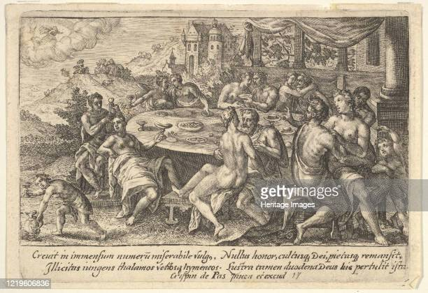 Mankind surrendering to lechery before the Flood embracing couples on benches around a table with food and drink from a series of engravings made for...