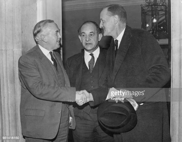 Manlio Brosio visits British Prime Minister Harold Wilson for lunch at 10 Downing Street during his first visit to London as SecretaryGeneral of NATO...