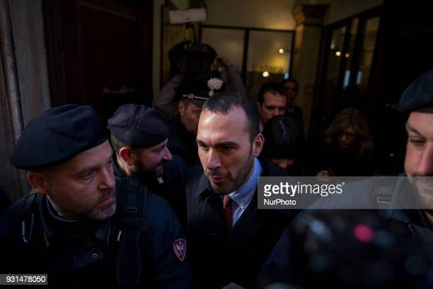 Manlio di Stefano new member of italian parliament by 5Star Movement party leaves following a news Foreign Press Club in Rome Italy on Tuesday March...