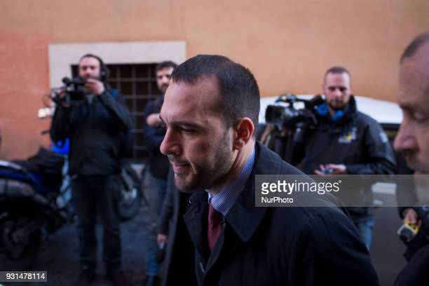 Manlio di Stefano new member of italian parliament by 5Star Movement party arrives at news Foreign Press Club held from Luigi Di Maio leader of...