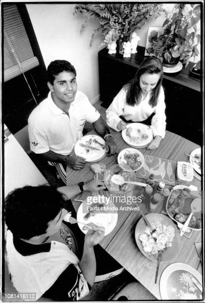 Manly 1st grader from the Northern territory with his 'Foster' familyAt the dinner table with Aaron and Sheralee Hansen August 26 1991