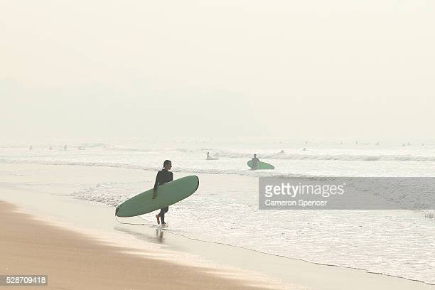 Manly Beach is seen shrouded in smoke haze on May 7 2016 in Sydney Australia Hazard reduction burning in the Blue mountains left Sydney covered in a...