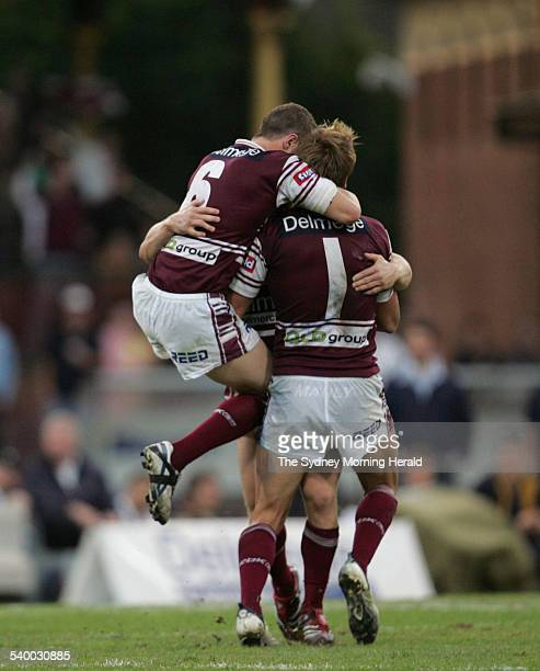 Manly celebrates after Matt Orford kicked the winning field goal during the Round 8 NRL rugby league match between the Manly Sea Eagles and...